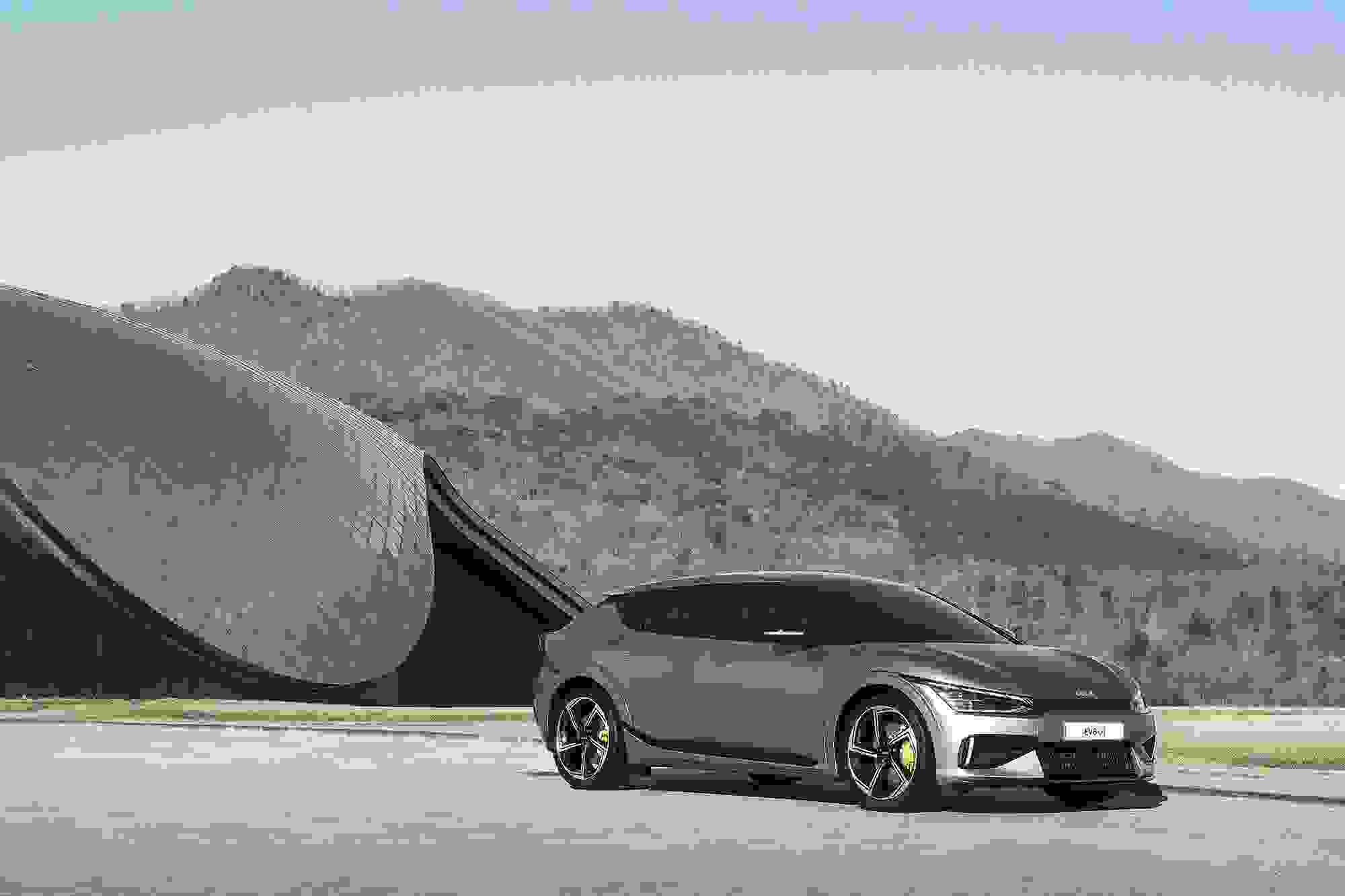 Kia EV6 silver mountain backdrop