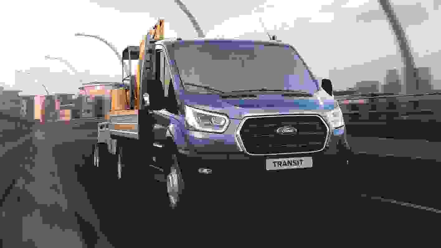 Ford Transit Ladvogn 2019 Eksterioer Lyseblaa Kran Leasing (2)