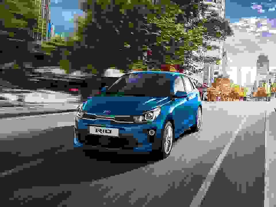 Kia Rio Front Driving In City